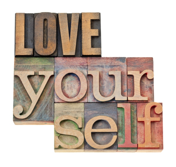 love yourself - self esteem concept - isolated text in vintage l
