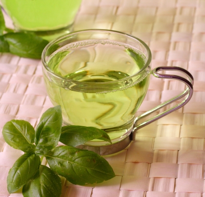 Green tea with herbs, close-up